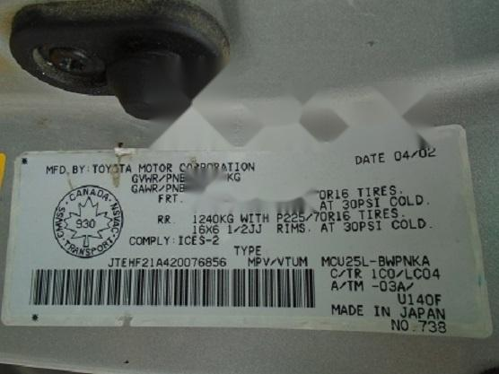 Foreign Used Toyota Highlander 2003 Model Silver-8